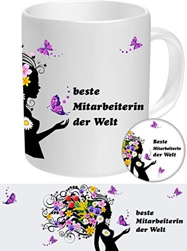 Mitarbeiterin Set-03 FRAUENGESCHENK: Mitarbeiterin - Beste Mitarbeiterin, Top Geschenke für die Besten Frauen NEU Tasse + Button