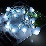 5 M 50 Led Guirnalda de luces,Amor corazon Luz de cadena Decoracion de Fiesta Boda Dormitorio (Azul)