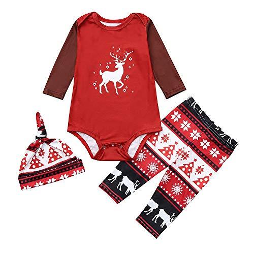 (Schlafanzug Weihnachtspyjama Familie UFODB Weihnachten Unisex Halloween Baumwolle Langarm Zweiteiliger Kinder Pajama Nachtwäsche Print Sleepwear Top)