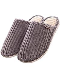 Unisex slip on cálido zapatillas feliz Lily Antislip Sandal algodón pantalones de pana Mulas zapatos de forro polar, talla para hombre