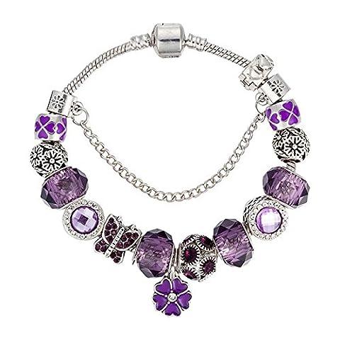 Diablo Serie Amethyst Perlen Armband Blumen Tropfen , 19cm