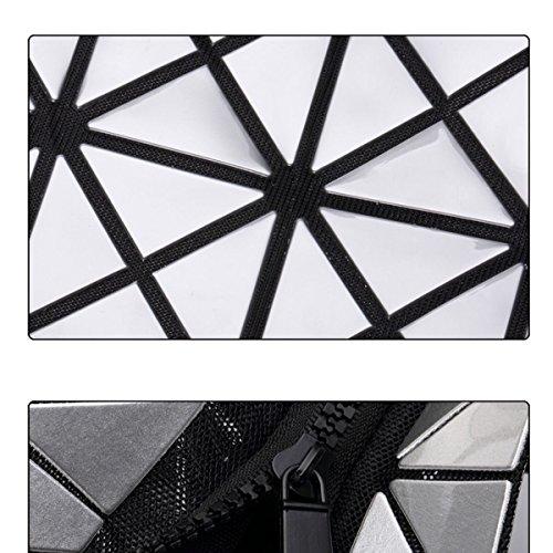 Frauen Mode Handtasche Schulter-Beutel PU Geometric Diamant Lattice Multicolor Blue2