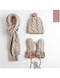 JOLIE 3 teiliges Damen Set Schal Mütze m großer Bommel Handschuhe Geschenkidee