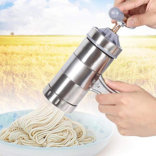 JoyFan Edelstahl Pasta Nudel Maker Presse Spaghetti Maschine Küchenwerkzeug 18.5 * 14 * 9cm silber - Teig Kneten Klinge