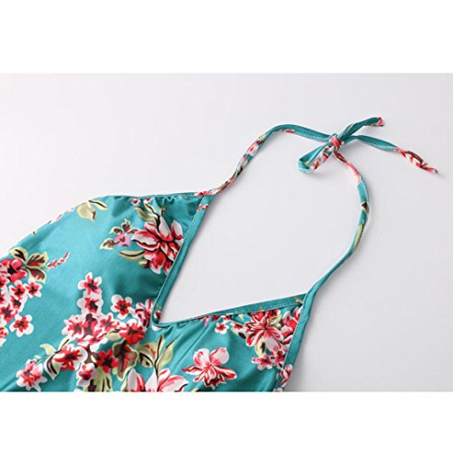 Rawdah Donna imbottita Push-up bikini floreale un pezzo di costume da bagno Backless swimwear tuta Blu