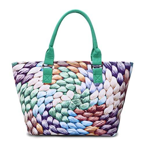 Eshow Borse a tracolla da donna di tela a mano Multifunzione per viaggio sacchetto borsa shopper bag shopping trekking verde