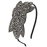 discoball Damen Haarreif 1920s Gatsby Kostüm 20er Jahre Stirnband mit Pailletten Perle Blumenblatt Blitzend Retro Vintage Flapper Haarband Kopfband (Schwarz)