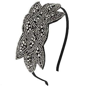 discoball Damen Haarreif 1920s Gatsby Kostüm 20er Jahre Stirnband mit Pailletten Perle Blumenblatt Blitzend Retro Vintage Flapper Haarband Kopfband