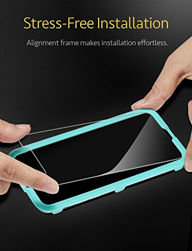 [2-Pack] iPhone X Screen Protector, [Easy Installation Frame], [Lifetime Warranty], ESR Premium Tempered Glass Screen Protector for iPhone X 5.8-inch