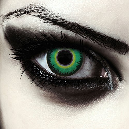 Grüne farbige Werwolf Kontaktlinsen ohne Stärke für Halloween Kostüm Farblinsen in grün + gratis Kontaktlinsenbehälter Model: Werewolf Green