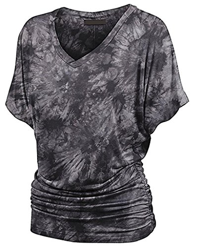 Damen T-Shirt Kurzshirt Sommerbluse große größen kurzarm fledermausärmel Taille V-Ausschnitt Baggy vintage Pastell Atmungsaktiv Grau