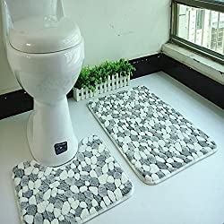 Kicode 2Pcs Combo Shower Mat and U-shaped Toilet Floor Rug Microfiber Absorbent Non-slip Bathroom Contour Mats