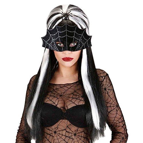 mit Spinnweben Halloween Maske Hexe Faschingsmaske Vampir Augenmaske Spinne Karnevalsmaske Schwarze Witwe Kostüm Accessoire ()
