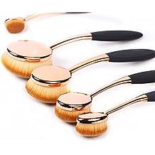 Oval Juego de Cepillo de Maquillaje de 5 pcs Profesional Oval oro Rosa Contorno de Pinceles de Maquillaje Fundación Mezcla de ojos Corrector Cosméticos Cepillos Herramienta Set