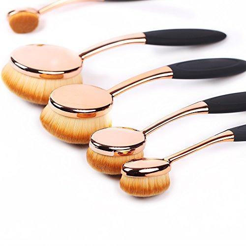 Ensemble de Brosse de Maquillage Ovale ,5 Pcs Rose Or Professionnel de brosse de Maquillage Ovale, Ensemble d'Outils de Cache cernes Eyeliner Mélange Cosmétique et Brosses