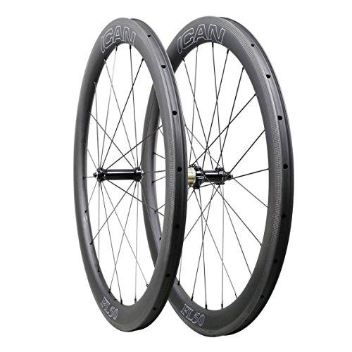 QIQI Bikes Carbon Laufräder Rennrad 50mm Clincher Tubeless Ready TLR Straight Pull Sapim CX-Ray Speiche (Schnelle & Leichte Serie) 1470g -