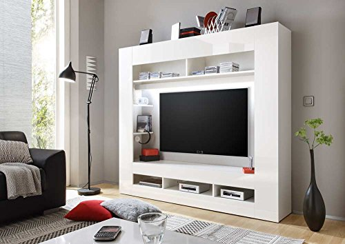 Media-Center in Hochglanz weiß, Korpus in weiß mit großem TV-Ausschnitt und offenen Geräterfächern, Maße: B/H/T ca. 180/160/34 cm