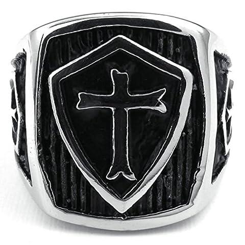 Adisaer Rings Stainless Steel Men Shield Cross 20MM Silver Black Size V 1/2 Ring Bands Mens Ring Retro Style
