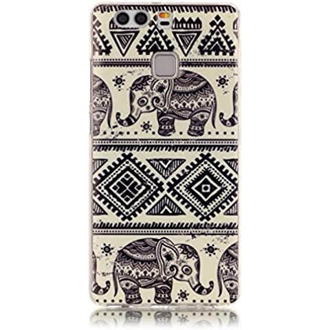 Meet de Caso / copertura / Telefono / sacchetto Per Huawei P9 PU Pelle Case , Huawei P9 Custodia / Cover / Cover Shell / Protettiva Caso / Cover / Protezione / Copertura TPU Per Huawei P9 - elefante