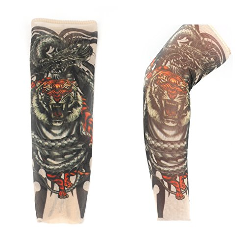 2-pcs-fake-nylon-kid-temporary-fake-tattoo-sleeves-arm-stockings-goth-punk-cool-child-voso-tiger