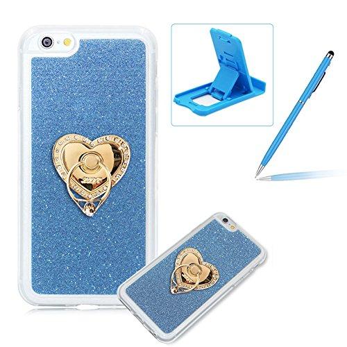 Für iPhone 6 Plus/6S Plus 5.5 Zoll Schrittweise Farbwechsel TPU Cover, Herzzer Bling Glitter Schutz Hülle mit Liebe Herzen Ring Halter, Luxus Sparkles Glänzend Glitzer Silikon Crystal Case Durchsichti Blau Ring Halter