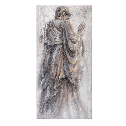 Cuadro de buda clásico gris de lienzo para salón de 70 x 140 cm Fantasy – Lola Derek