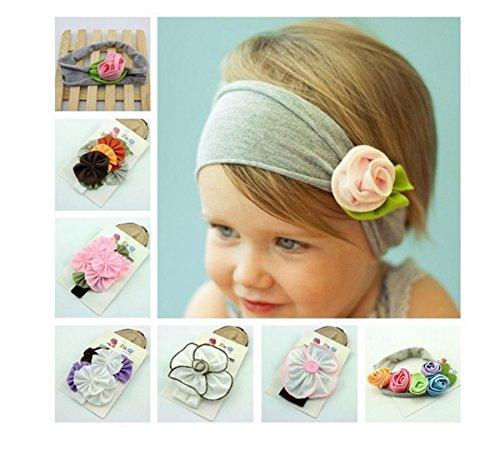 TININNA 7 Stück Niedlich Baby Kinder Mädchen Baumwolle Elastische Stirnbänder Bogen Blume Stirnband Haarband Haarschmuck Kopfbedeckungen für Mädchen