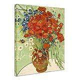 Wieco Art Mohnblumen und Gänseblümchen, Kunstdruck auf Leinwand, Vincent van Gogh, Öl-Gemälde, Reproduktion, Blumen, Dekoration, Kunstwerk, Bilder auf Leinwand, Wandkunst, für Zuhause, Büro