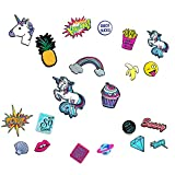 24x Leder Sticker ♥ 24er Set PU Patches ♥ Einhorn Ananas Regenbogen Cupcake