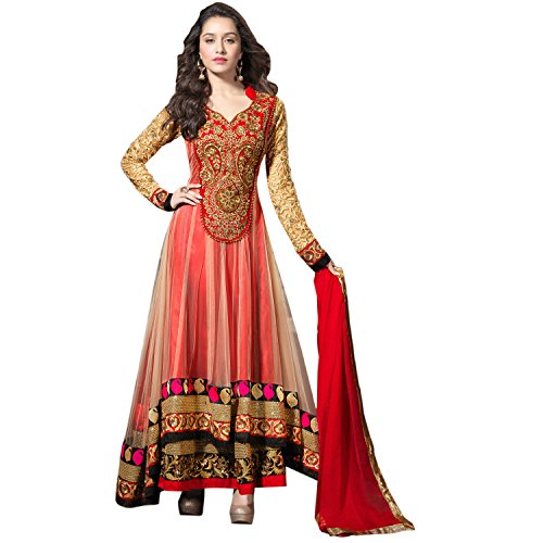 Fabulous Trendz New Red Color Net And Georgette Fabric Anarkali Dress Material