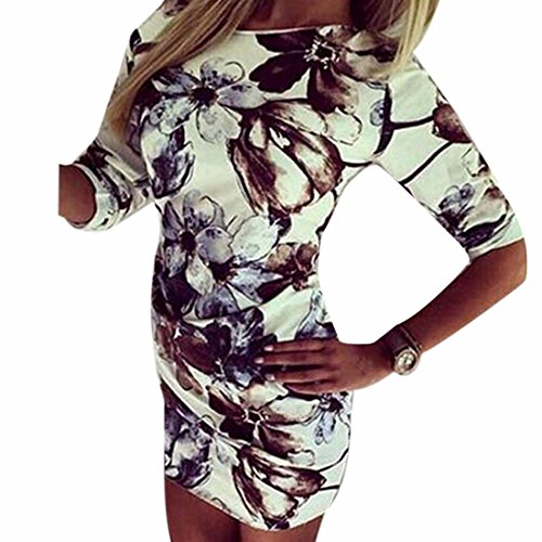 Retro Kurze Huelse Bodycon Verband Floral Mini Bleistift Frauenkleid Prom photo Color