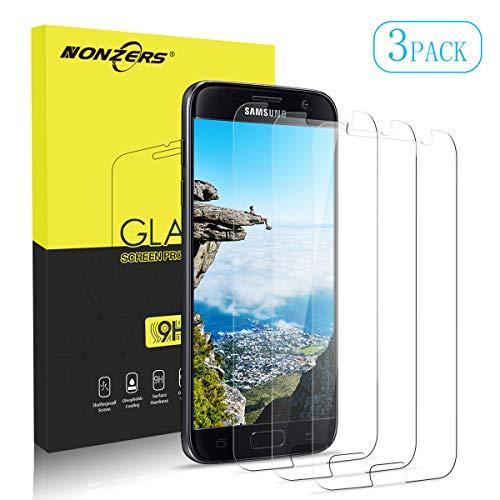 NONZERS Verre Trempé pour Samsung Galaxy S7, [3 Pack] Film de Protection d'Écran en Verre Trempé Transparent, 9H Dureté, Installation Facile sans Bulles, Vitre Samsung Galaxy S7