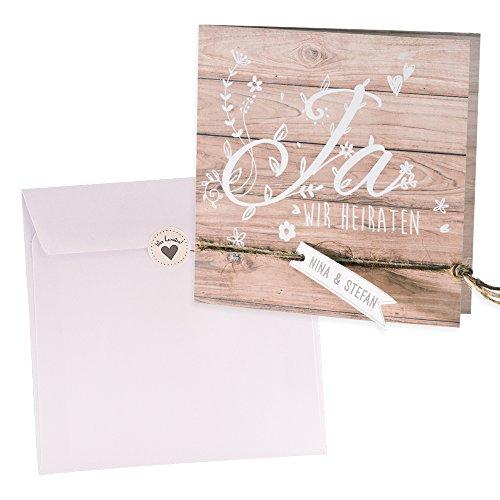 Holz-Optik Einladungskarte Vroni zur Vintage Hochzeit, 3 Stück Blanko Hochzeitseinladungen mit passendem Umschlag u. weddix Siegeletikett