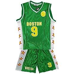 De niño BOSTON Baloncesto Deporte Camiseta Top Y Shorts Conjunto De Accesorios tallas 3-14 Años - sintético, Verde, 100% poliéster, De Niño, 10 (9-10 Años), Verde