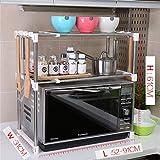 Küchenmöbel-WXP Mikrowellenofen Regale Küchenregale Regalstangen Doppelschicht Edelstahl / Kohlenstoffstahl WXP-Küchenschränke und Besteckschränke ( Farbe : B )
