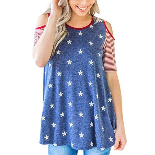 Frauen Fashion American Flag Print t-shirt LSAltd Sommer Kalten Schulter Kurzarm Bluse Streifen Casual Weste Tee (XL, Blau)