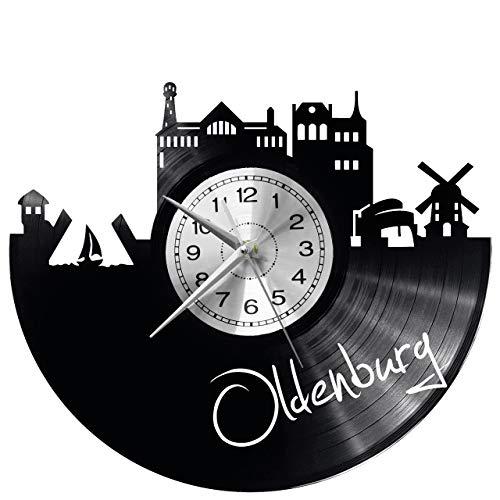 WoD Oldenburg Wanduhr Vinyl Schallplatte Retro-Uhr groß Uhren Style Raum Home Dekorationen Tolles Geschenk Uhr