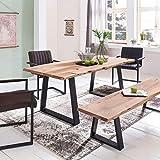 WOHNLING Esszimmer-Tisch Baumstamm Massivholz Akazie 140 x 76 x 80 cm | Robuster Naturholz Esstisch mit Unebenheiten | Echtholz Küchentisch mit Baumkante | Landhaus Holztisch mit 2 Metallbeinen