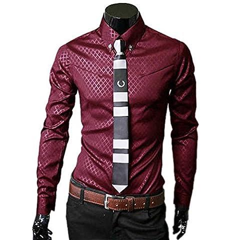 Tefamore Hommes Mode Luxe Affaires élégant Slim Fit manches longues Casual Shirt (M, Rouge)