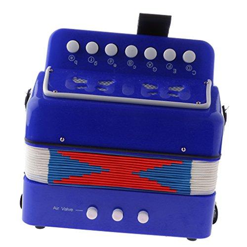 7 Tasten Kinder Knopfakkordeon Musikinstrument Pädagogisches Spielzeug - Blau