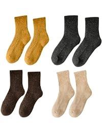 GRHY Mujer de algodón acolchado y de invierno del Círculo de felpa toalla tibia tubo inferior Retro calcetines de lana,un tamaño, Cúrcuma + Gris oscuro + Café + beige