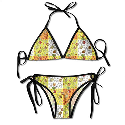 Women's Swimsuit Two Pieces Bikini Set, Cartoon Style Flowers and Beetles Squares Nature Ornamental Summer Season Inspired,Swimwear Bathing Suits