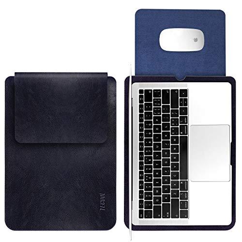 TECOOL 13 Pollici Custodia per PC Portatili, Laptop Sleeve in Pelle Custodia Morbide Protettiva Borsa per MacBook Air/PRO Retina 13,3, HP Envy x360, ASUS Flip C302CA, dell 13 XPS -Blu Scuro