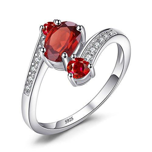 Jewelrypalace 925 Sterling Silber 1.2 ct Natürlichen Roten Granat 3 Stein Jahrestag Ring schmuck ringe