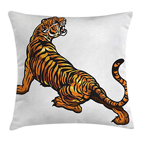 Tattoo Decor Throw Pillow Cushion Cover by, African Tiger Roaring Jungle Creature Big Cat Safari Predator Illustration, Decorative Square Accent Pillow Case, 18 X 18 Inches, Orange Black -