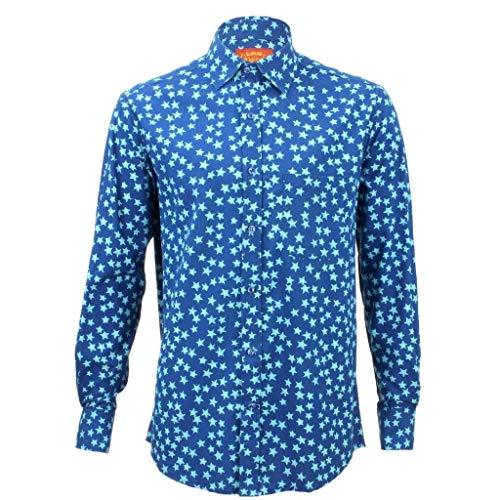 Loud Originals Coupe Standard Chemise Manches Longues - Bleu avec Clair Étoiles Bleu