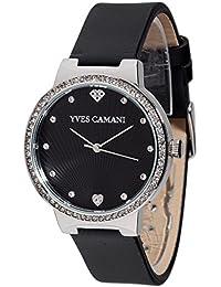 Yves Camani Damen-Armbanduhr Toulon mit schwarzem steinbesetzem Zifferblatt und silbernem Edelstahl-Gehäuse. Klassische Quarz Damen-Uhr mit steinbesetzer Lünette sowie schwarzem Leder-Armband