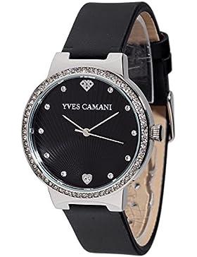 Yves Camani Damen-Armbanduhr Toulon mit schwarzem steinbesetzem Zifferblatt und silbernem Edelstahl-Gehäuse. Klassische...