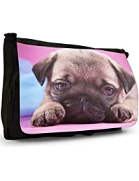China Asian Love Pug Dogs Large Messenger Black Canvas Shoulder Bag - School / Laptop Bag