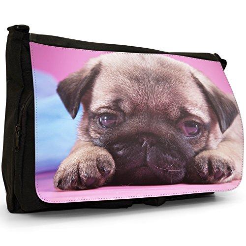 Asiatica carlino Dogs in porcellana Love, colore: nero, Borsa Messenger-Borsa a tracolla in tela, borsa per Laptop, scuola Nero (Cute Little Pug Puppy)